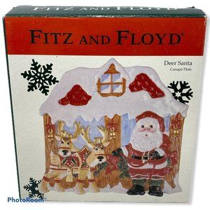 Fitz and Floyd Deer Santa Christmas Canape Cookie